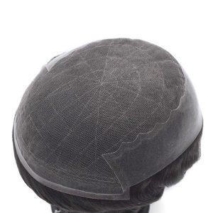 Q6 Prótesis Capilar de Hombre en Stock de Densidad Media-Ligera de French Lace con los Laterales de PU New Times Hair
