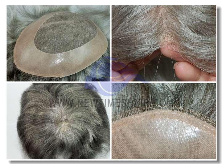 HS9: Peluquín para hombres con base de Monofilamento y tul en la parte frontal.