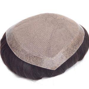 Silk top con el PU inyectado alrededor Prótesis capilar para hombre New Times Hair