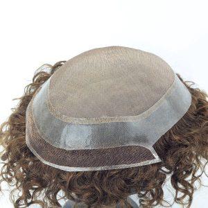 Línea natural del cabello nudos invisibles Base de mono fino Prótesis capilares masculinas en New Times Hair