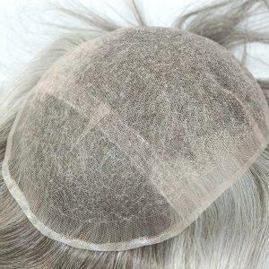 Base de Tul Frances con el Frente de Tul Suizo Prótesis Capilar Masculina | New Times Hair