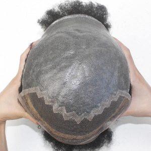 Afro Curl Prótesis capilares para hombre con la parte delantera de tinte