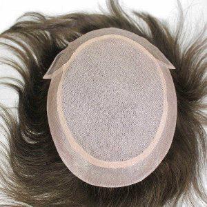 LW3035 Silk top Lace frontal Prótesis capilar para hombre