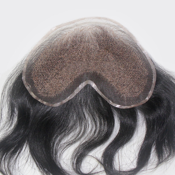 Q6 French Lace with PU Sides Stock Afro Curly Toupee For Black Men6