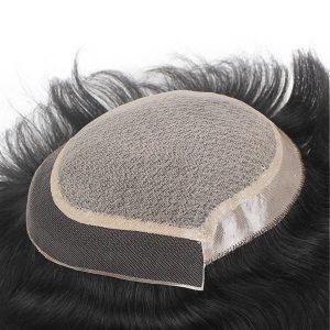 LWS014: Lace inyectado Prótesis capilar para hombre de cabello humano