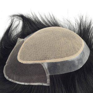 Silk top PU transparente y Lace frontal Prótesis capilares masculinas