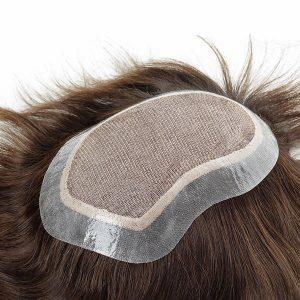 Silk top con PU transparente alrededor Prótesis capilar para hombre en New Times Hair