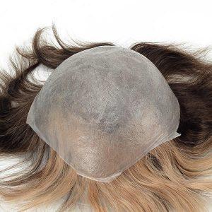 Skin super fino, nudo tipo V-looped, prótesis capilares masculinas con un frontal de tinte