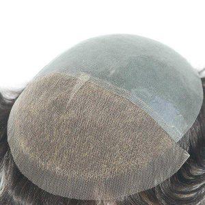 Skin transparente con la parte delantera de tul francés Prótesis capilares para hombre
