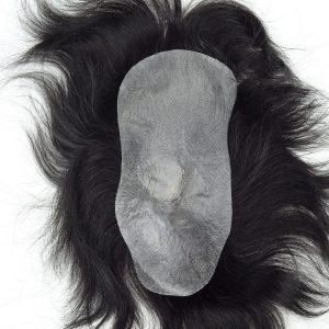 Nudos tipo v-looped con pelo inyectado en la coronilla, prótesis capilar masculina de skin fino