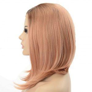 Peluca sintética de mujer con corte en forma de A de color rosa pastel