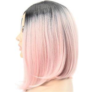 Peluca Sintética de Mujer Mediana, Lisa y Sedosa, Color Rosa Pastel Ombré