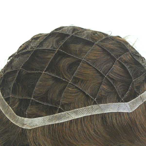 Q6 French Lace with PU Sides Stock Afro Curly Toupee2