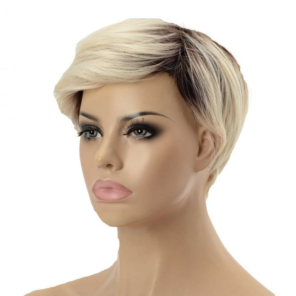 Q6 French Lace with PU Sides Stock Afro Curly Toupee1