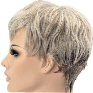 Rubio ceniza y gris : Peluca sintética corta de mujer en dos tonos