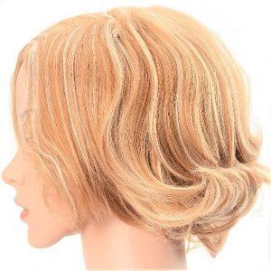 Glamurosa peluca sintética de color Vintage rubio y el estilo bob rizado de mujer